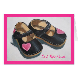 Baby Shower For Girl: Art: Shoes with Hearts Greeting Card