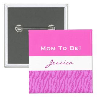 Baby Shower for Girl Modern Zebra Print V4 15 Cm Square Badge