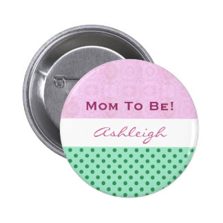 Baby Shower for Girl Pink Green Polka Dots 6 Cm Round Badge