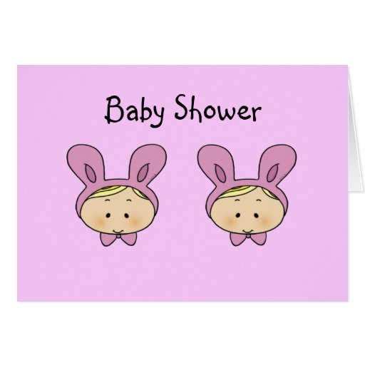 Baby shower for girl twins greeting card
