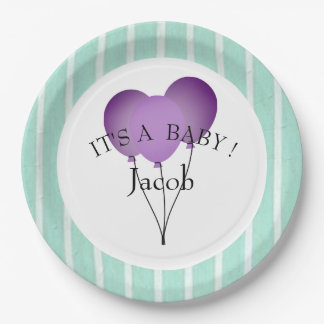 "BABY-SHOWER-""Fun Prints""  Aqua/TEMPLATE-STYLISH Paper Plate"