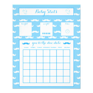 Baby Shower game Baby Stats Blue Mustache 11.5 Cm X 14 Cm Flyer