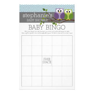 Baby Shower Game - Bingo - boy owl 14 Cm X 21.5 Cm Flyer