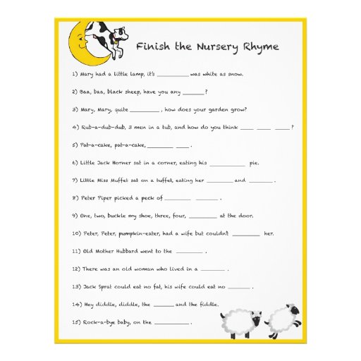 Baby Shower Game Finish The Nursery Rhyme 215 Cm X 28 Flyer