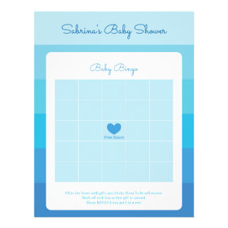 Baby Shower Game in Blue Ombre Stripes 21.5 Cm X 28 Cm Flyer