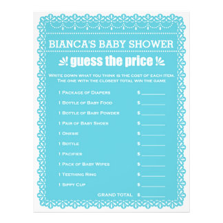 Baby Shower Game in Blue Papel Picado 21.5 Cm X 28 Cm Flyer