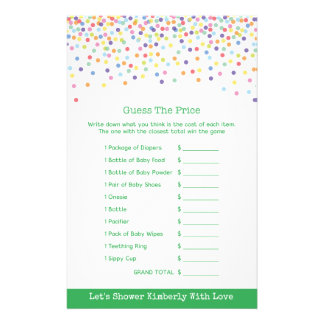 Baby Shower Game in Confetti Theme 14 Cm X 21.5 Cm Flyer