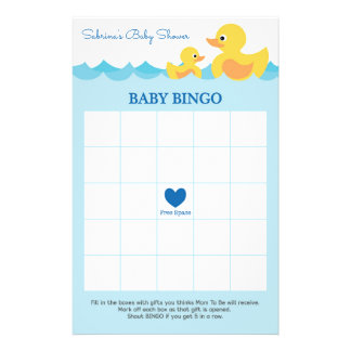 Baby Shower Game in Cute Rubber Duck Theme 14 Cm X 21.5 Cm Flyer