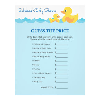 Baby Shower Game in Cute Rubber Duck Theme 21.5 Cm X 28 Cm Flyer