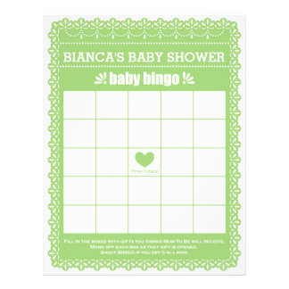 Baby Shower Game in Green Papel Picado Flyer
