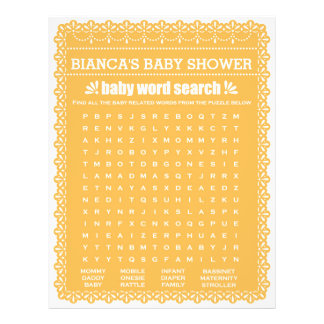 Baby Shower Game in Orange Papel Picado Flyer