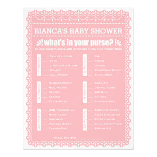Baby Shower Game in Pink Papel Picado 21.5 Cm X 28 Cm Flyer