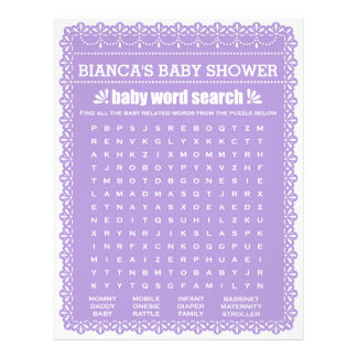 Baby Shower Game in Purple Papel Picado Flyer