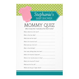 Baby Shower Game - Mommy Quiz Pink Girl Polka Dots 14 Cm X 21.5 Cm Flyer