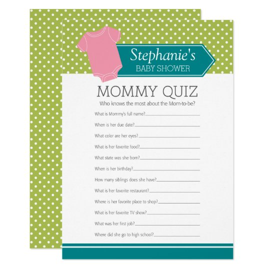 Baby Shower Game - Mummy Quiz Pink Girl