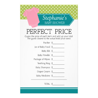 Baby Shower Game Perfect Price - Pastel Pink Tee 14 Cm X 21.5 Cm Flyer