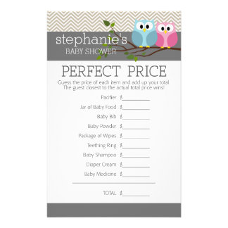 Baby Shower Game - Perfect Right Price 14 Cm X 21.5 Cm Flyer