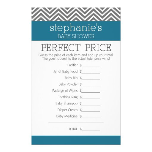 Baby Shower Game - Perfect Right Price Personalized Flyer