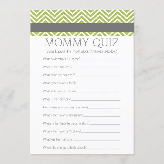 Baby Shower Game Who Knows Mummy Best Quiz Zazzle Co Uk