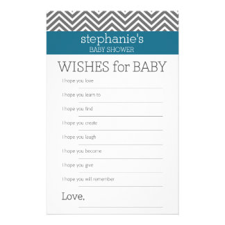 Baby Shower Game Wishes - Teal and Grey Chevrons Stationery Design