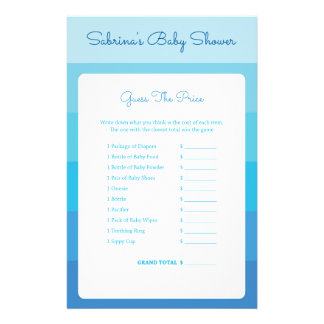 Baby Shower Games in Blue Ombre Stripes 14 Cm X 21.5 Cm Flyer