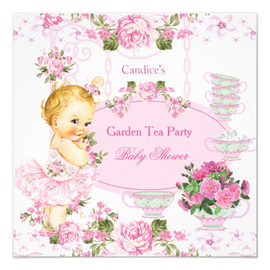 Baby Shower Garden Tea Party Lace Pink Blonde