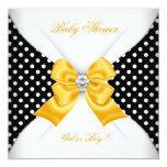 Baby Shower Gender Reveal Black Yellow White Spots 13 Cm X 13 Cm Square Invitation Card