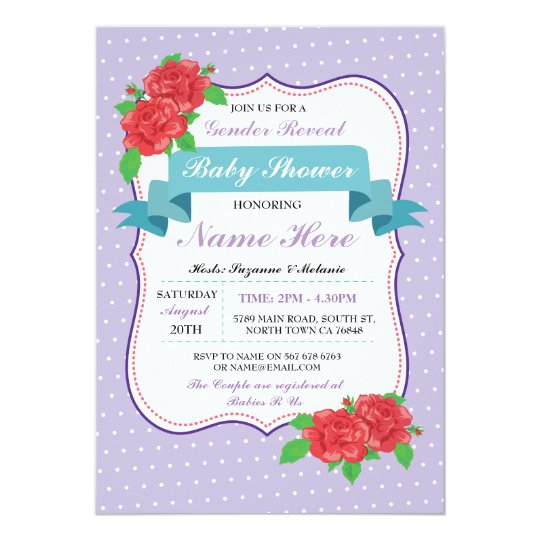 Baby Shower Gender Reveal Purple Invitations
