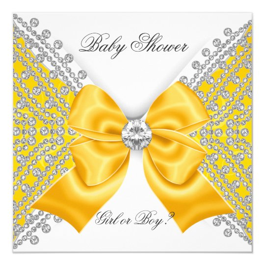 Baby Shower Gender Reveal Yellow White Card