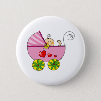 Baby shower (girl) 6 cm round badge