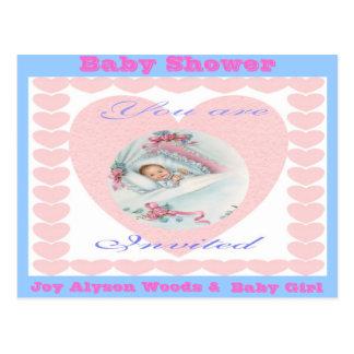 Baby Shower-Girl Baby Love Hearts Postcard