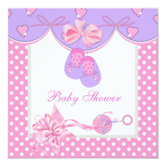 "Baby Shower Girl Baby Pink Booties White 5.25"" Square Invitation Card"
