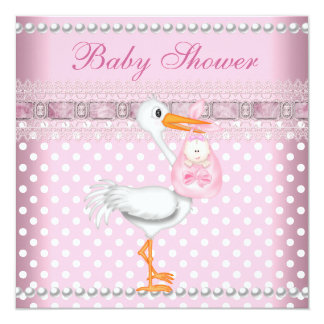 Baby Shower Girl Baby Pink Spot Pearl Stork Card