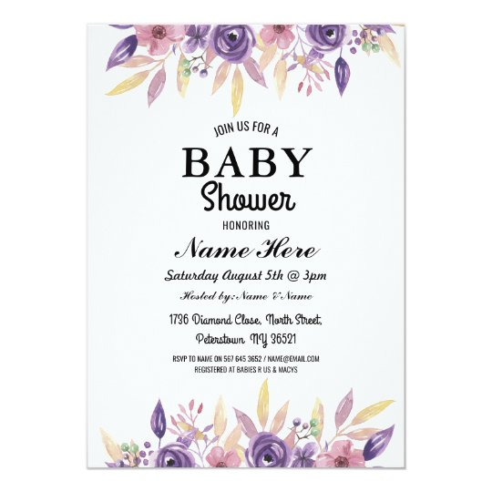 Baby Shower Girl Boy Gender Reveal Floral Invite