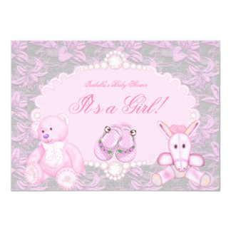 Baby Shower Girl Floral Pink Toys Booties 11 Cm X 16 Cm Invitation Card