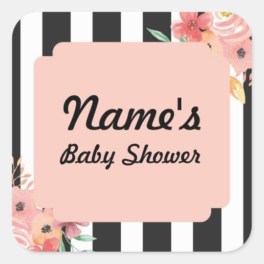 Baby Shower Girl Flower Peach Sticker Stripes