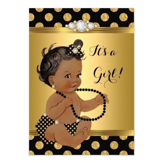 Baby Shower Girl Gold Foil Black Pearls Ethnic