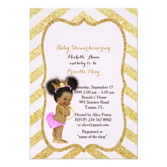 Baby Shower GIRL,golden chevron,white & gold_Ebony Card