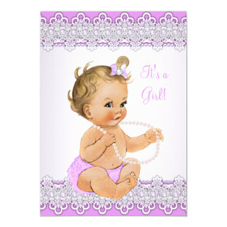 Baby Shower Girl Lavender Lace Pearl Blonde 13 Cm X 18 Cm Invitation Card