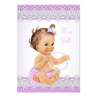Baby Shower Girl Lavender Lace Pearl Brunette 13 Cm X 18 Cm Invitation Card