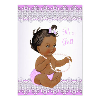Baby Shower Girl Lavender Lace Pearl Ethnic 13 Cm X 18 Cm Invitation Card