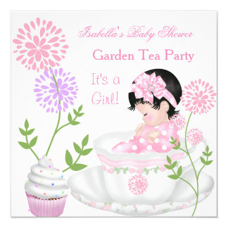 Baby Shower Girl Pink Baby Garden Tea Party 13 Cm X 13 Cm Square Invitation Card