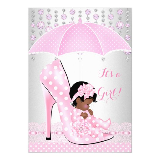 Baby Shower Girl Pink Baby Shoe Diamond A3