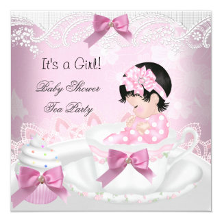 Baby Shower Girl Pink Baby Teacup Cupcake 13 Cm X 13 Cm Square Invitation Card