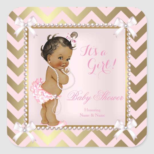Baby Shower Girl Pink Pearl Gold Chevron Ethnic