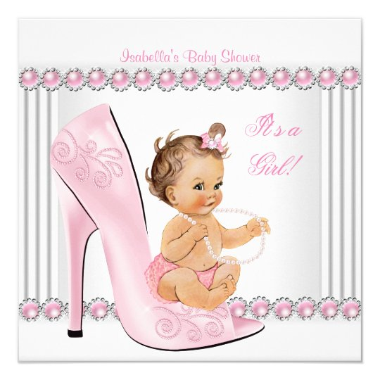 Baby Shower Girl Pink Pearl High Heel Shoes