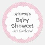 Baby Shower GIRL Pink Polka Dot Pattern V3 Round Stickers
