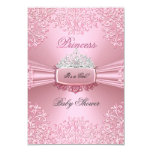 Baby Shower Girl Pink Princess Tiara lace SML 9 Cm X 13 Cm Invitation Card