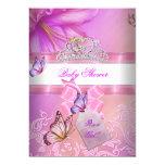 Baby Shower Girl Pink Purple Princess Butterfly 2 13 Cm X 18 Cm Invitation Card