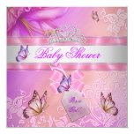 Baby Shower Girl Pink Purple Princess Butterfly 13 Cm X 13 Cm Square Invitation Card